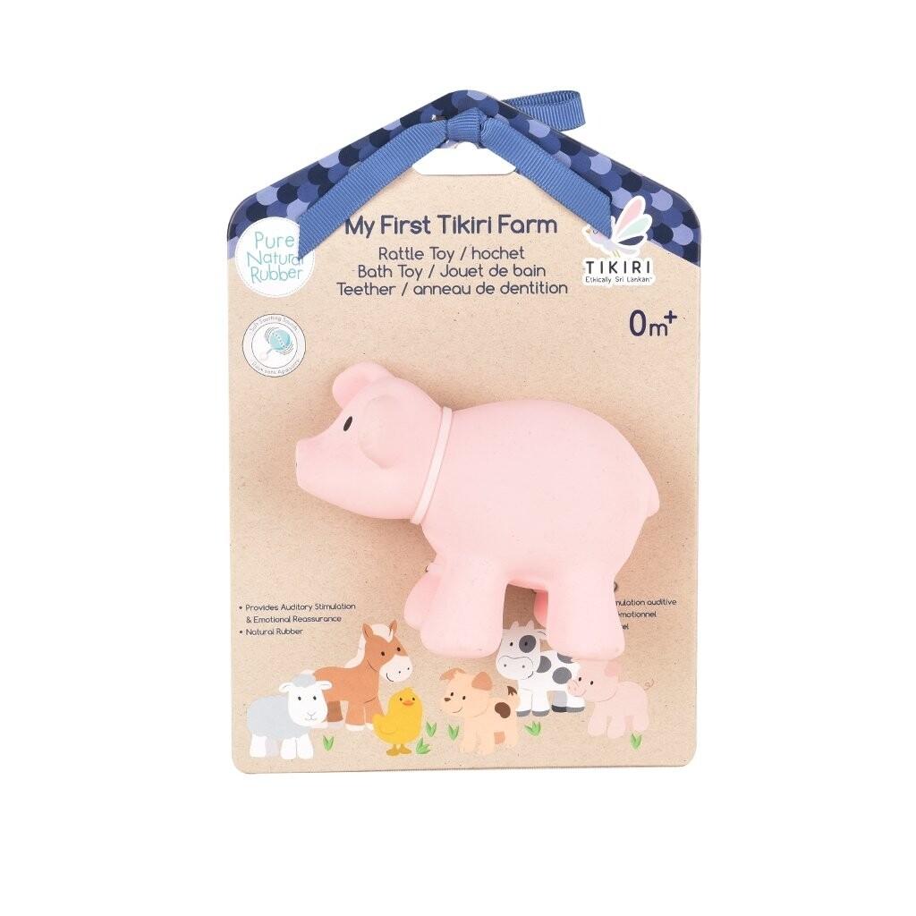 Tikiri Toys | Pig - Natural Rubber Rattle