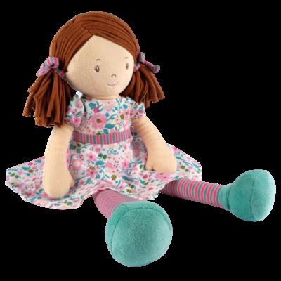 Tikiri Toys | Katy - Dark Brown Hair with Pink & Sea Green Dress