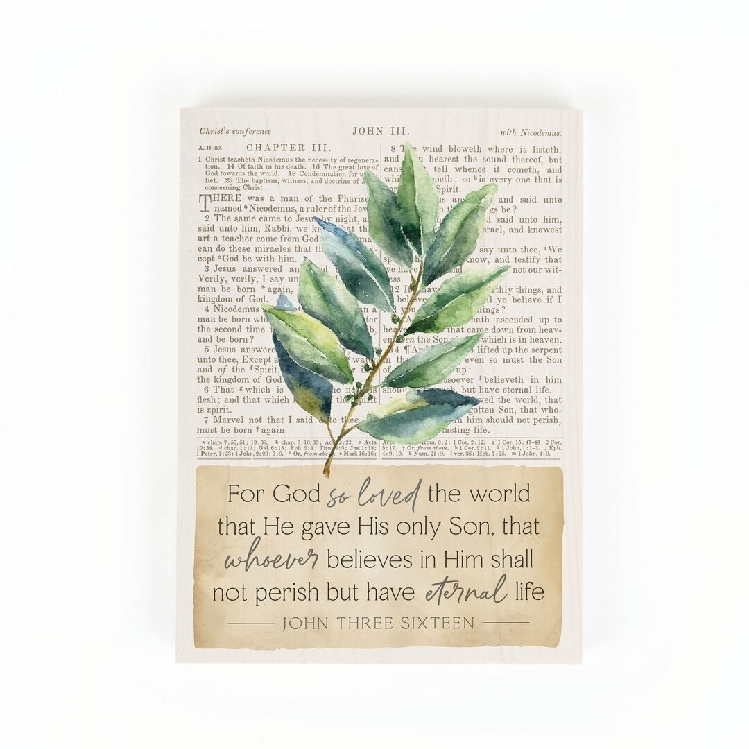 "Word Block Sign - ""For God so Loved"""