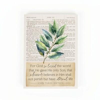 "Word Block Sign - ""For God so Loved"""