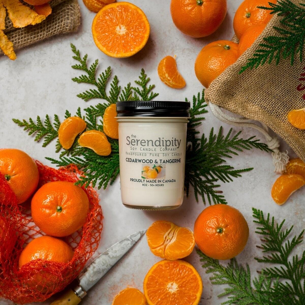Serendipity 8 oz Soy Candle Jar | Cedarwood & Tangerine
