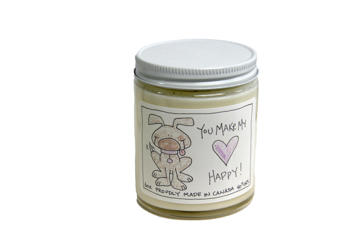 Serendipity 6 oz Soy Candle Jar   You Make My Heart Happy - Dog
