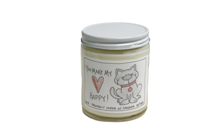 Serendipity 6 oz Soy Candle Jar | You Make My Heart Happy - Cat