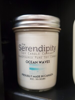 Serendipity 8 oz Soy Candle Jar | Ocean Waves