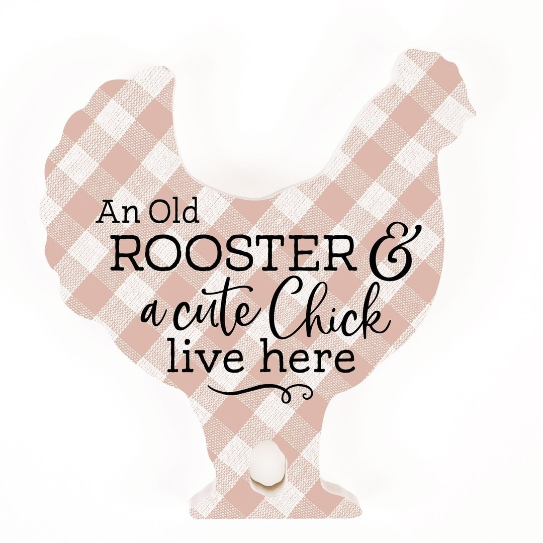 P.G. Dunn Small Shape Sign - Old Rooster & A Cute Chick