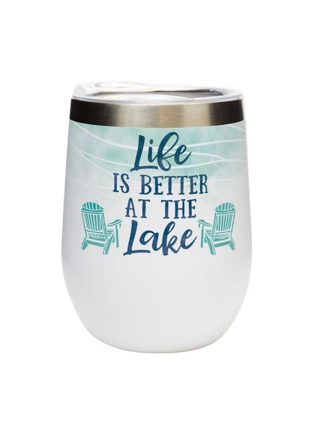 Carson 12oz Stainless Steel Wine Tumbler - Life Is Better At The Lake