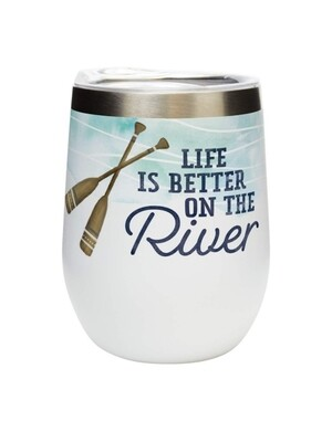 Carson 12oz Stainless Steel Wine Tumbler - Life Is Better At The River