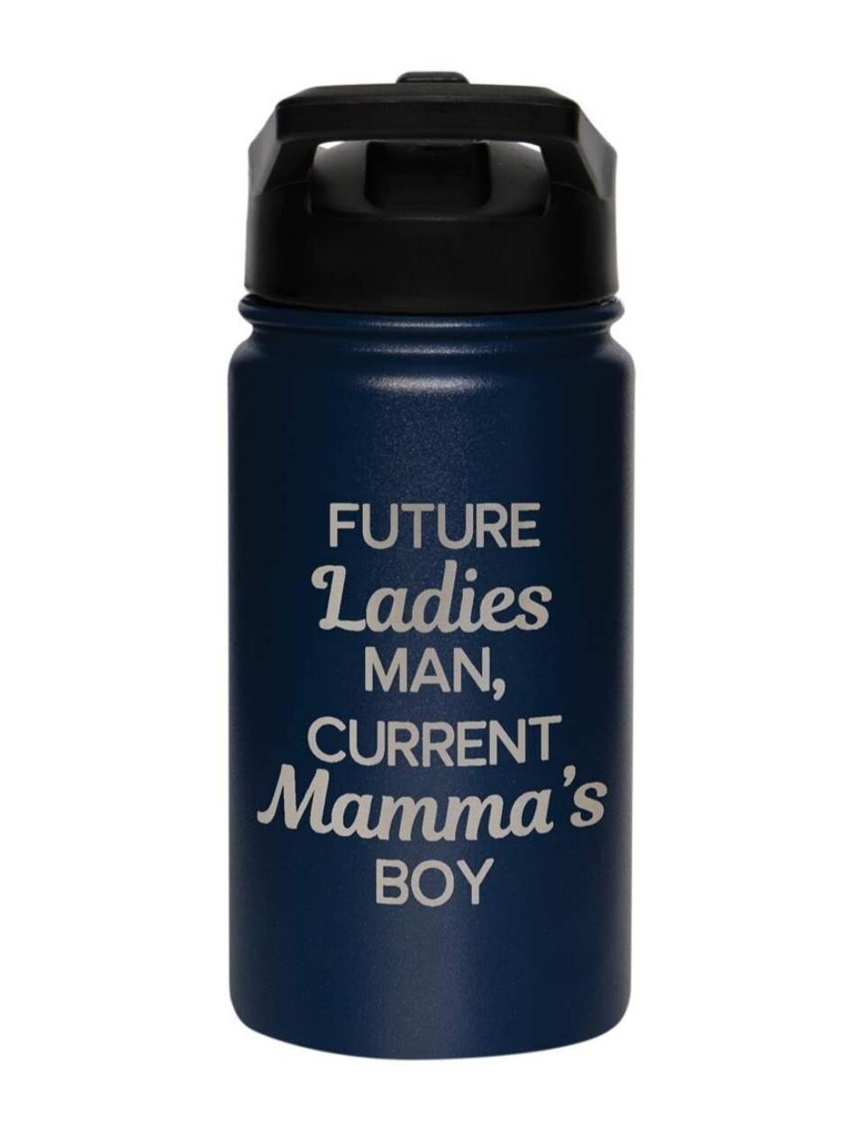 Carson 14oz Stainless Steel Children's Sport Bottle - Future Ladies Man, Current Mamma's Boy