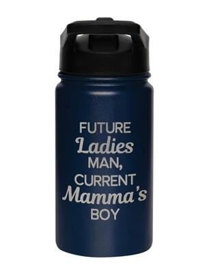 Carson 14oz Stainless Steel Children's Sport Bottle - Future Ladies Man, Current Mamma's Boy