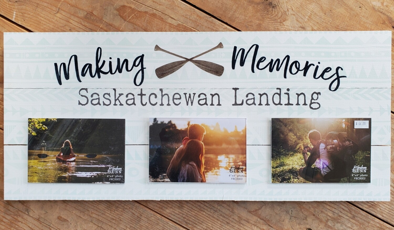 """""""Making Memories - Saskatchewan Landing"""" Pallet Board Photo Frame"""
