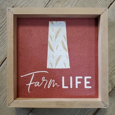 """Farm Life - Saskatchewan"" Framed Textured Sign"
