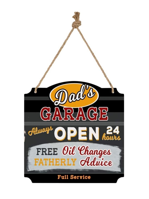 Hanging Metal Wall Sign - Dad's Garage