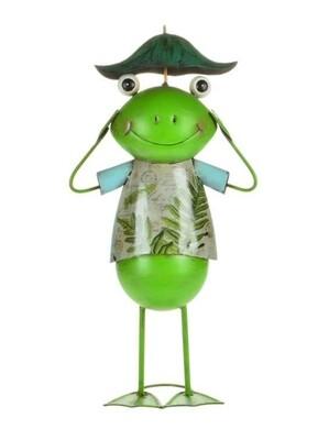 Metal Frog with Umbrella