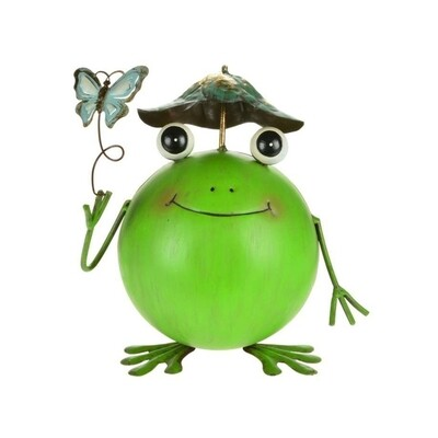 Metal Frog with Butterfly