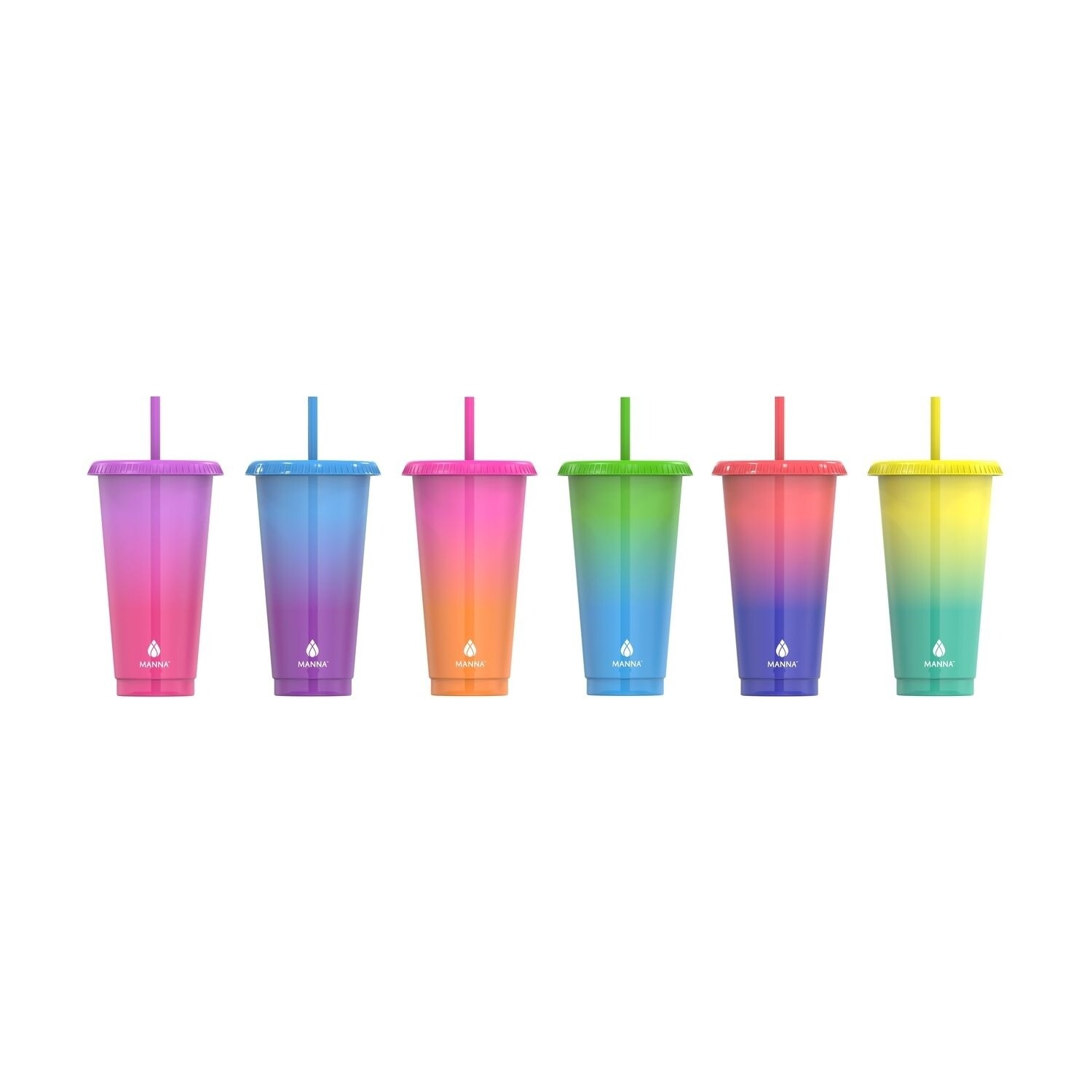 Manna 6 Pack Cold Color-Changing Tumbler & Straw Set