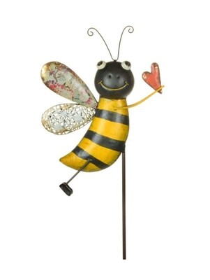 Metal Bee Garden Stake - Side View