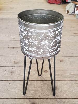 Dragonfly Galvanized Planter with Stand | Medium