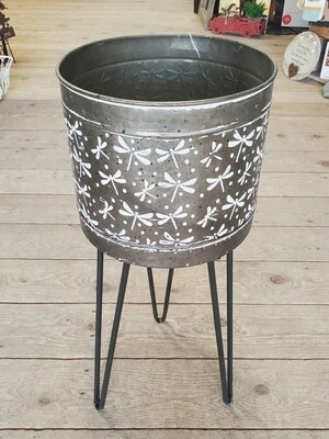 Dragonfly Galvanized Planter with Stand | Small