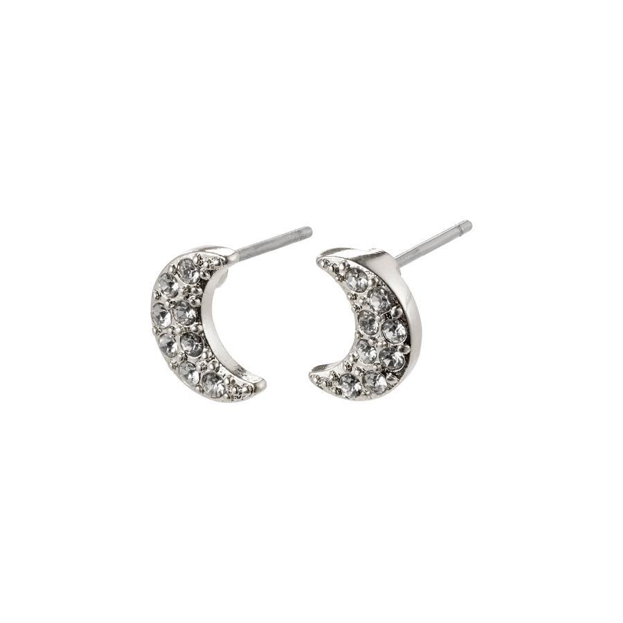 Pilgrim Silver Moon Crystal Stud Earrings