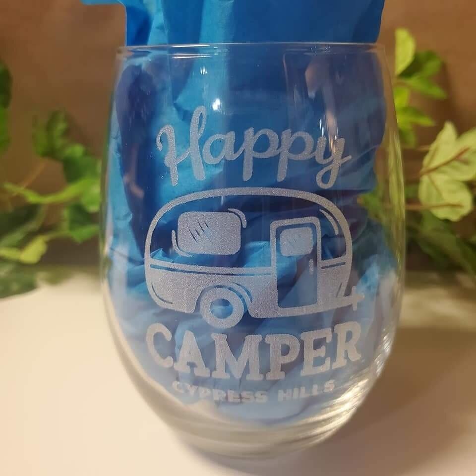 """Happy Camper - Cypress Hills"" Stemless Wine Glass"