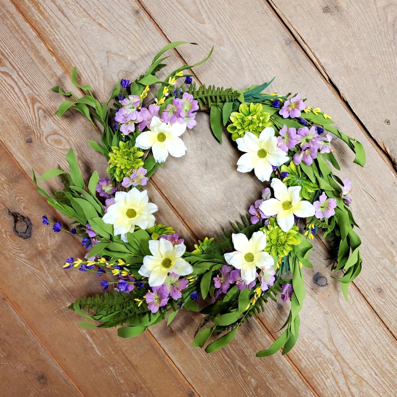 Multi Floral/ Fern Greenery Wreath