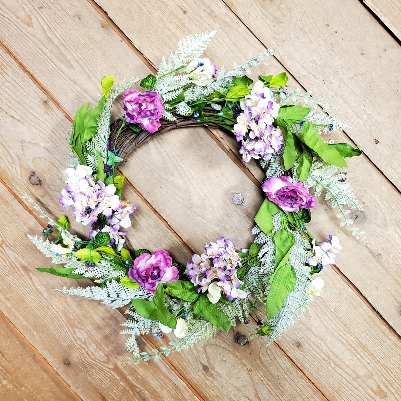 Purple Hydrangea/ Fern Wreath