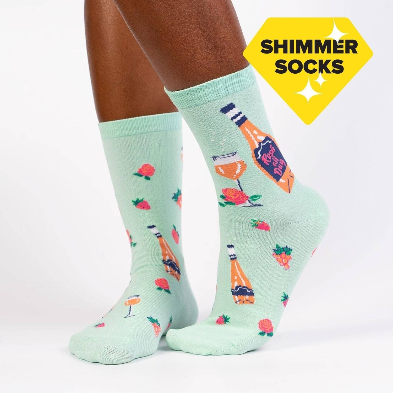 Sock It To Me - Women's Crew Socks   Rosé All Day