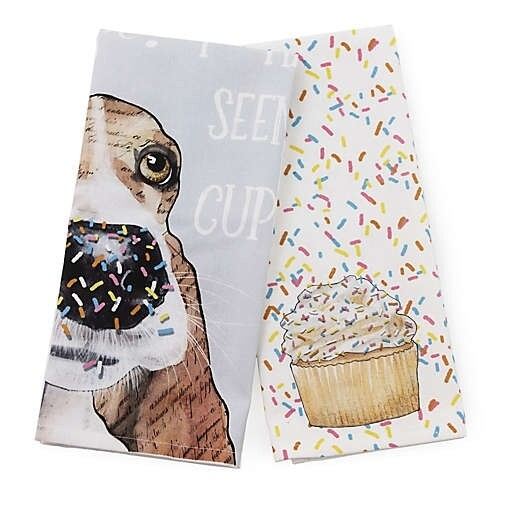 Boston International Tea Towels | Cupcake Dog (Set of 2)