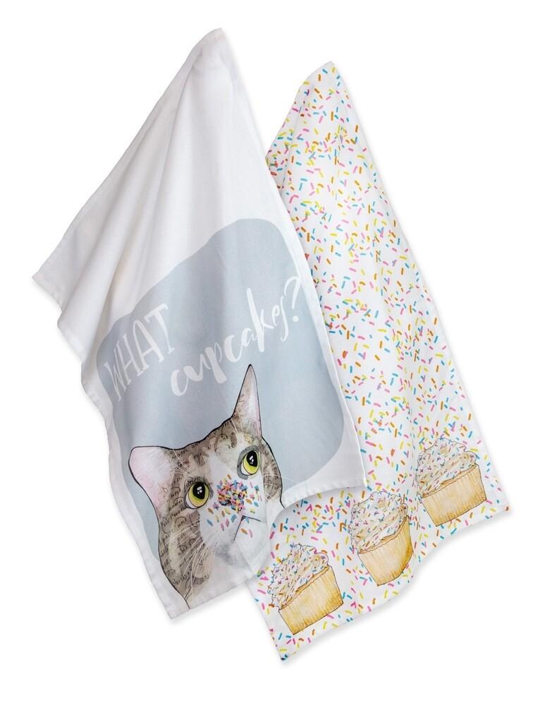 Boston International Tea Towels | Cupcake Cat (Set of 2)