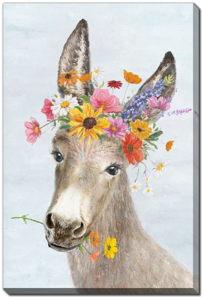 Canvas - Donkey with Flowers
