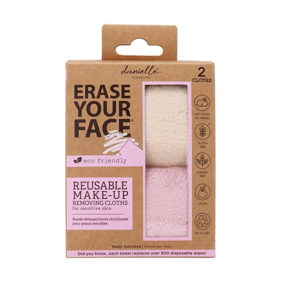 Erase Your Face Eco Reusable Make-up Removing Cloths (Pack of 2)