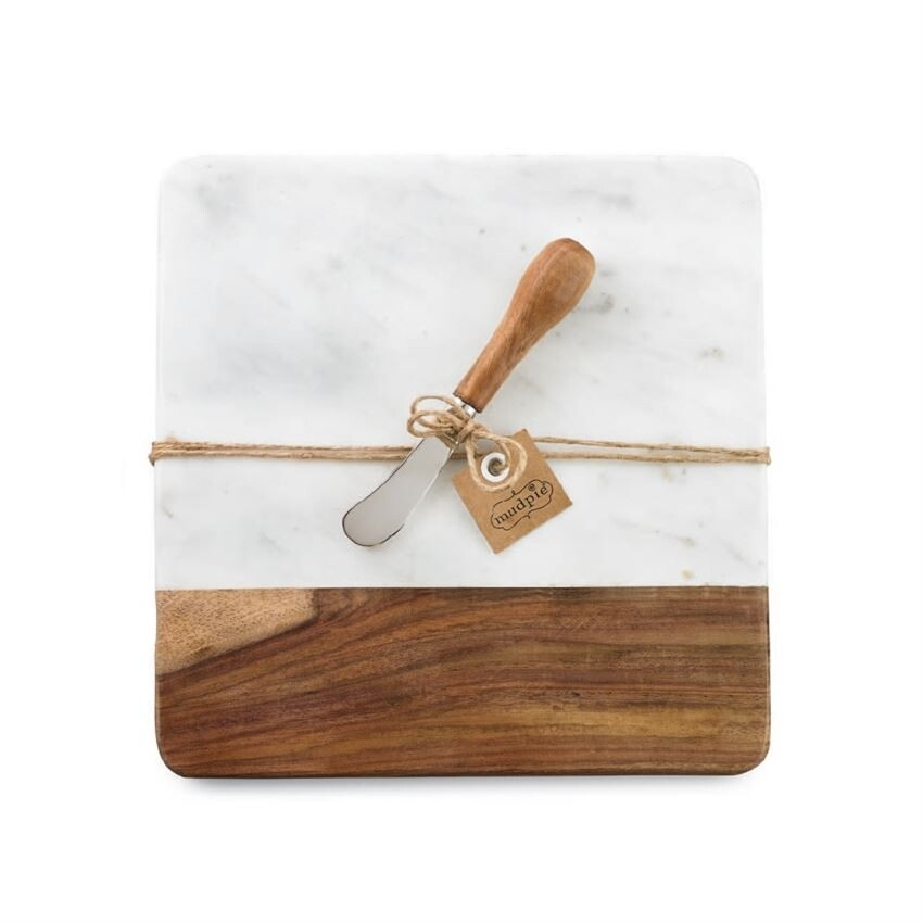 MudPie | Marble and Wood Board Set