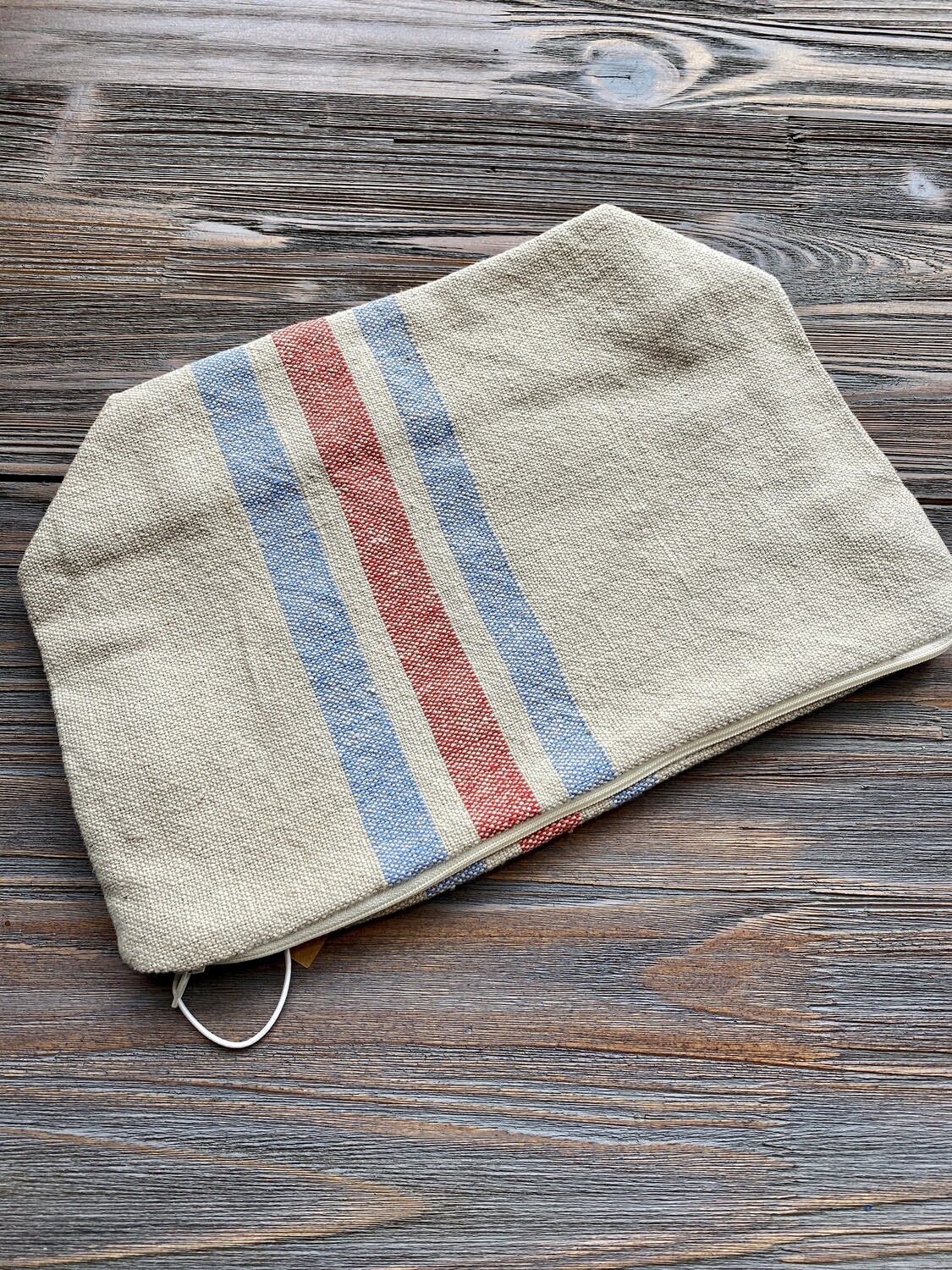 Cotton Blue Red Striped Pouch
