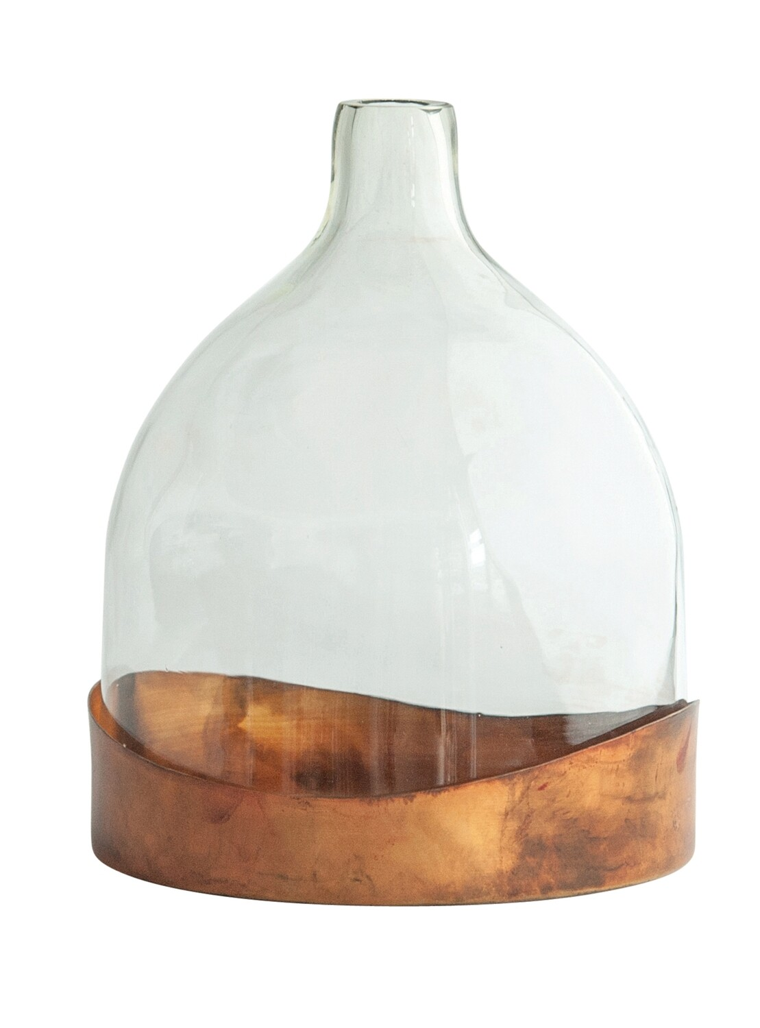 Glass Cloche with Antique Copper Tray