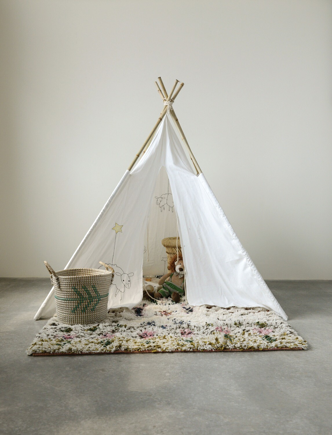 Canvas Teepee with Embroidered Sheep
