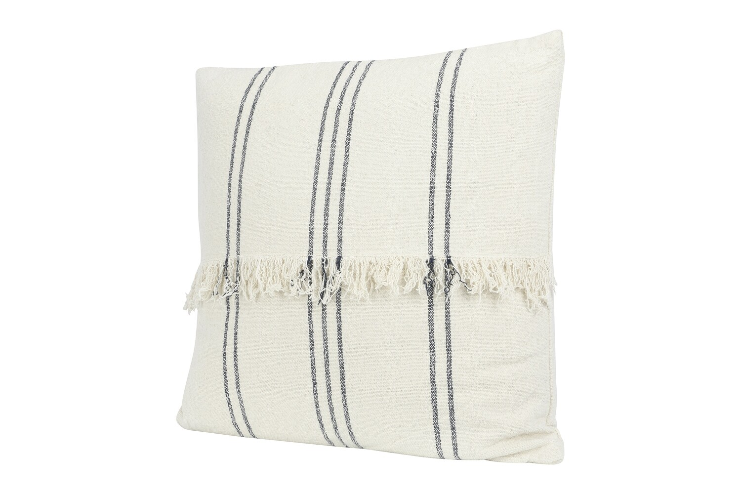 "22"" Striped Mudcloth Pillow with Fringe"