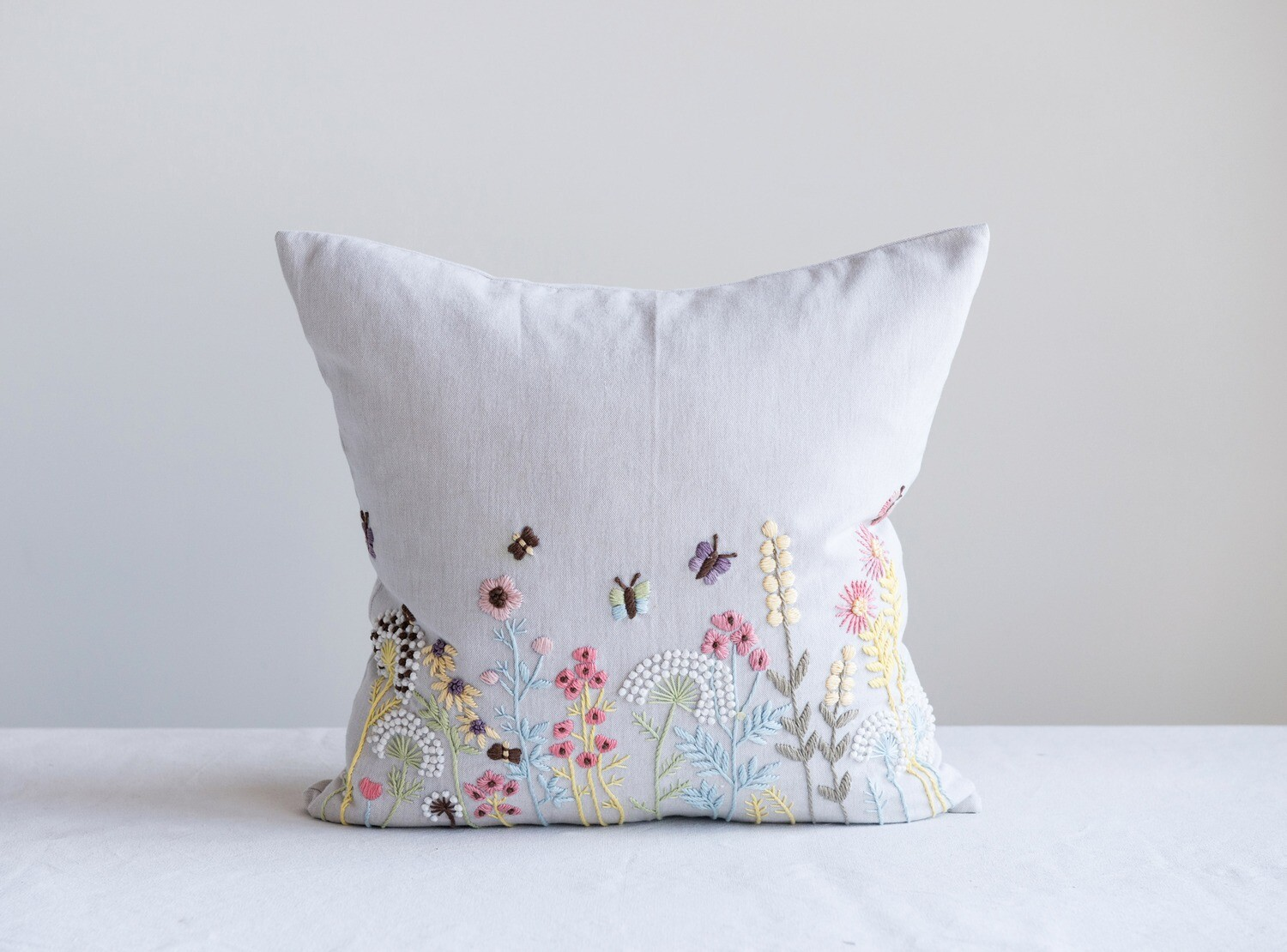 Square Pillow with Embroidered Multicolor French Knot Flowers