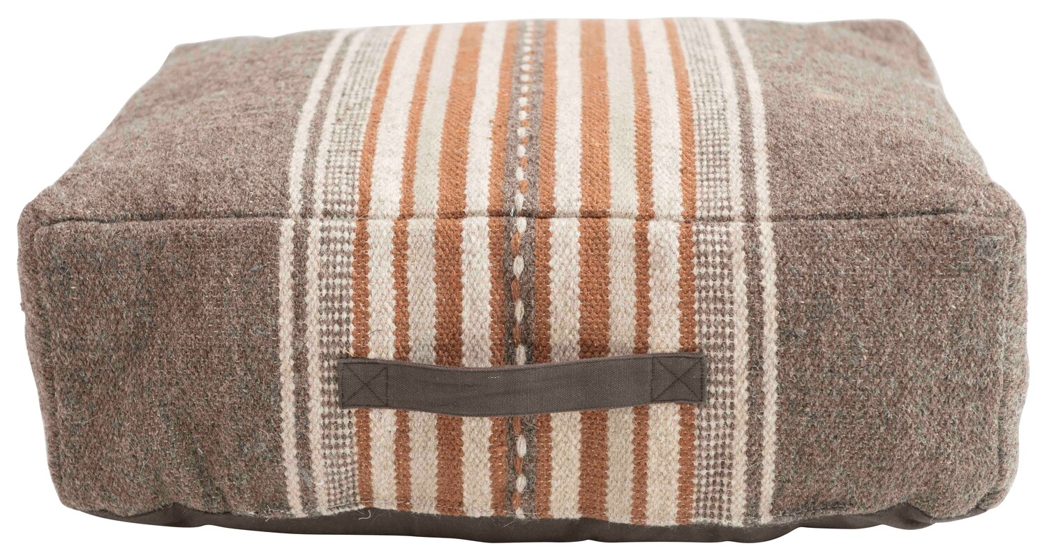Cotton Woven Pouf with Stripes & Handle