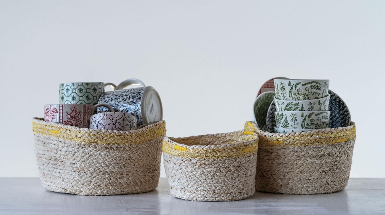 Maize Baskets with Yellow Stitching (Set of 3 Sizes)