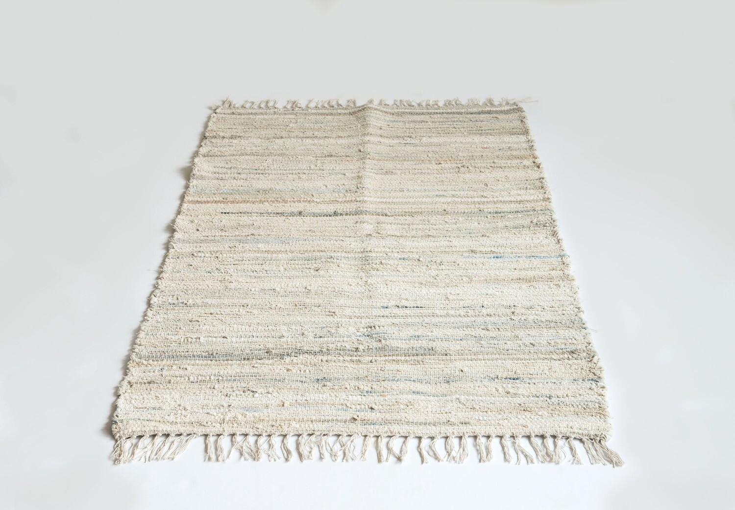 Light Multicolor 3' x 5' Recycled Cotton Chindi Rug
