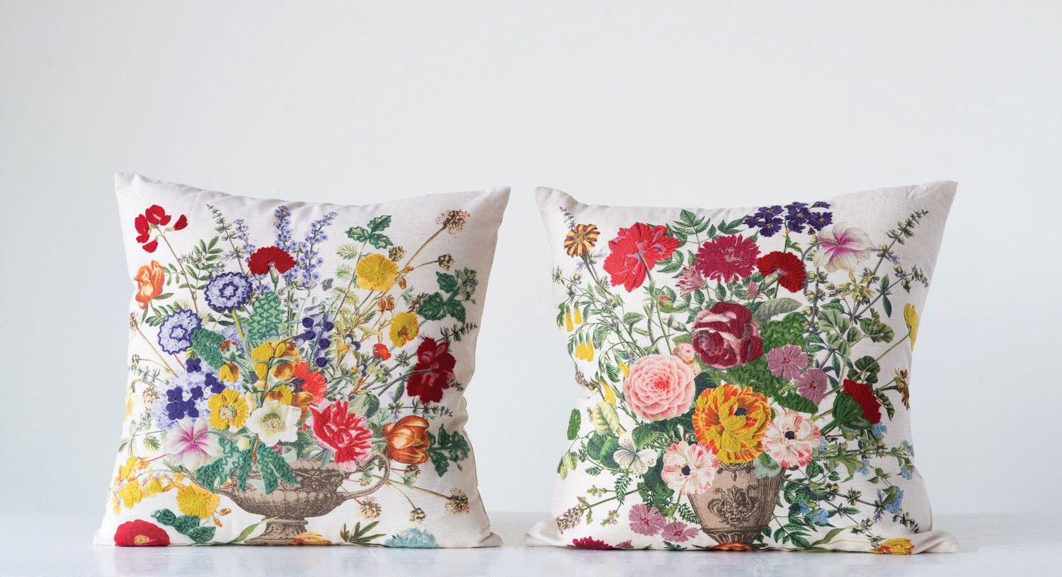 Square Cotton Blend Pillow with Embroidered Highlighted Flowers (2 styles)