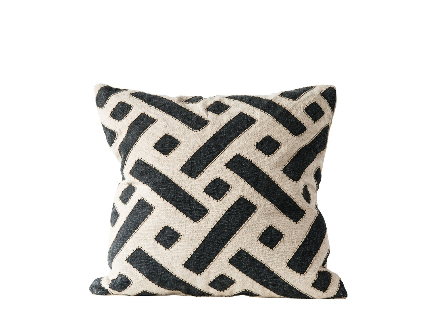 Black & Natural Square Cotton Mudcloth Pillow with Embroidered Edges