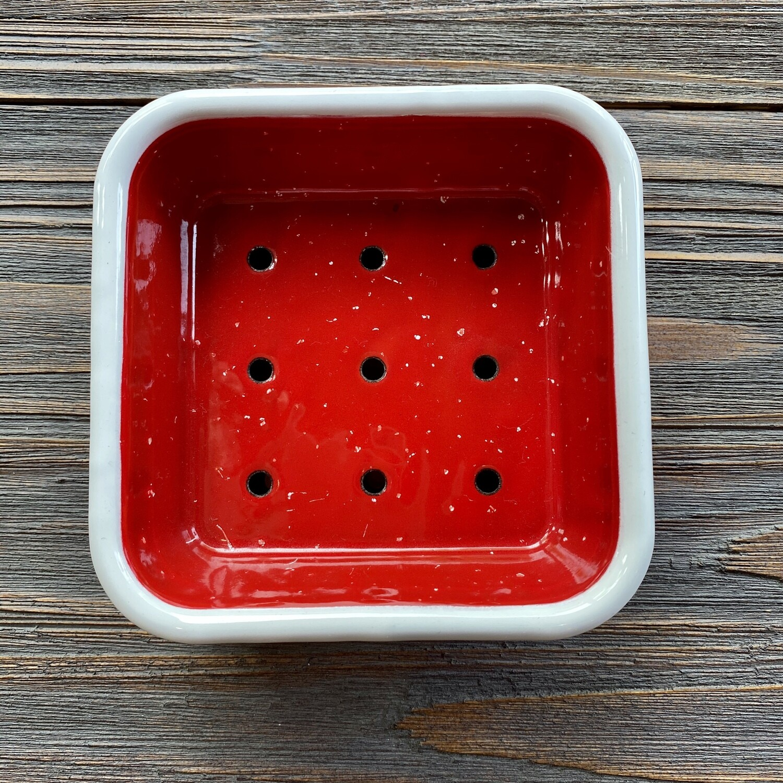 Red Square Enamel Soap Dish