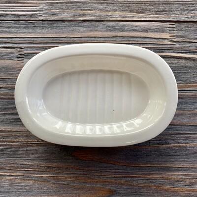 Metal and Stoneware Soap Dish