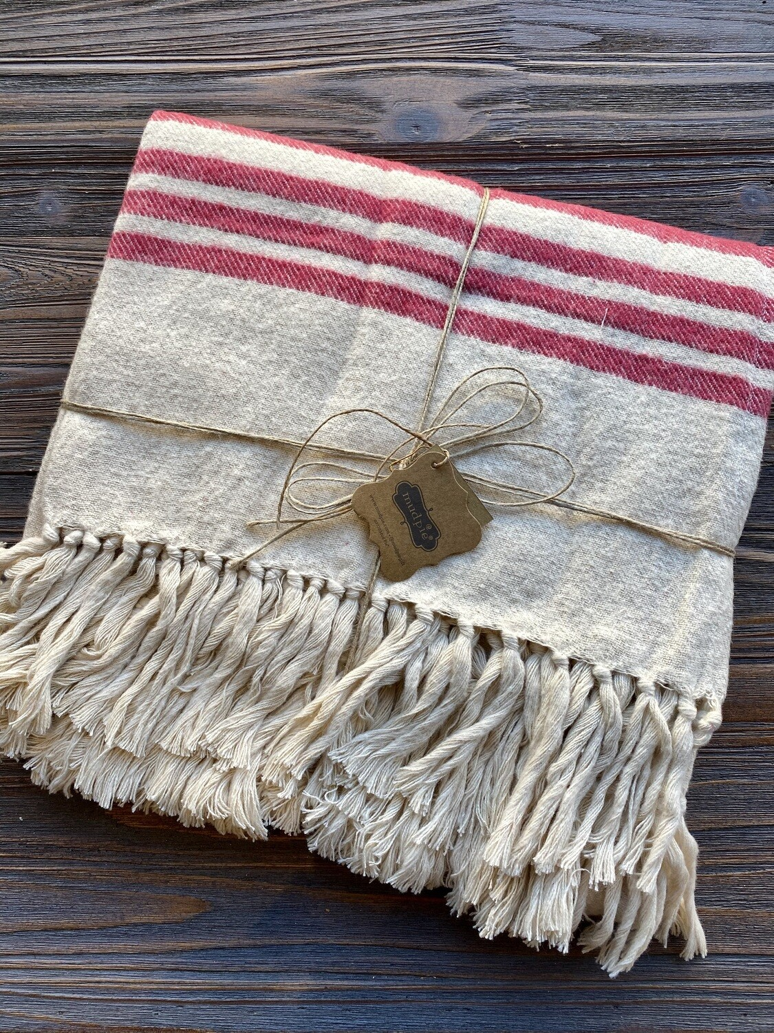 Mud Pie Brushed Cotton Red Ivory Throw