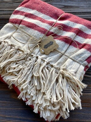 Mud Pie Brushed Cotton Red Ivory Throw V2