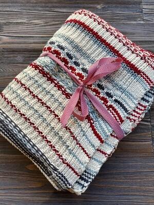 Red Blue Shetland Fair Isle Cotton Knit Throw