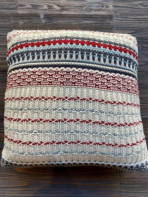 Red Blue Shetland Fair Isle Pillow
