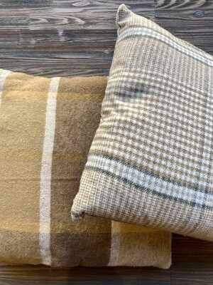 "18"" Brown Tan Plaid Brushed Cotton Pillow"