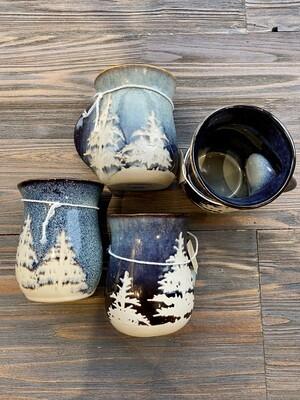 Glazed Hand Warmer Mug Forest Left